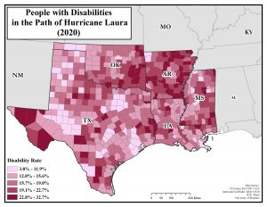 Map showing disability rates of counties in the path of Hurricane Laura. Text description on page.