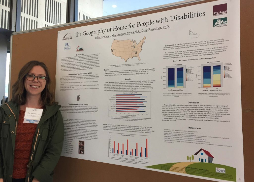 Lillie Greiman in front of research poster at the NIDILRR 40th anniversary celebration.