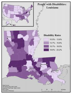 Map of Louisiana showing rates of people with disability by county. See page for full text description.