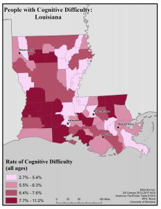 Map of Louisiana showing rates of people with cognitive difficulty by county. See Louisiana State Profile page for full text description.