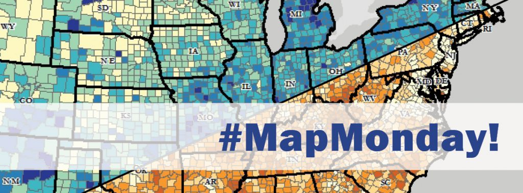 #MapMonday over a background of colorful maps.