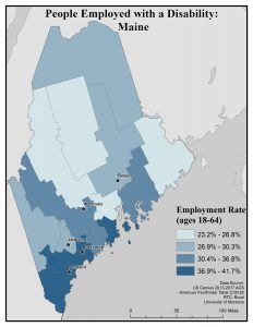 Map of Maine showing rates of people with disability who are employed by county. See Maine State Profile page for full text description.