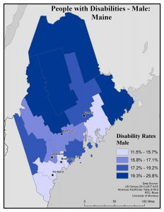 Map of Maine showing rates of males with disabilities by county. See Maine State Profile page for full text description.