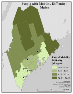 Map of Maine showing rates of people with mobility difficulty by county. See Maine State Profile page for full text description.