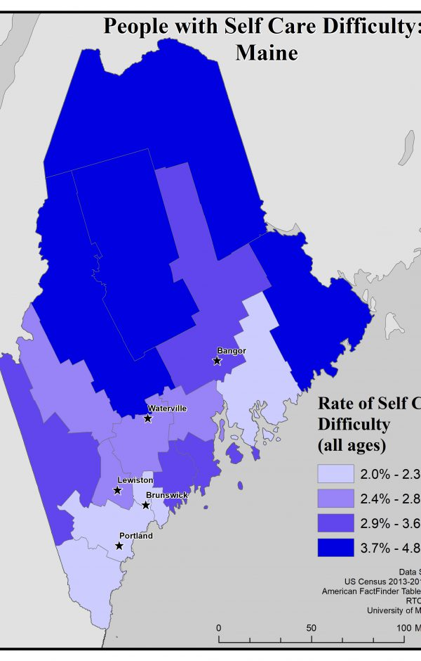 Map of Maine showing rates of people with self care difficulty by county. See Maine State Profile page for full text description.