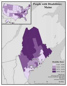 Map of Maine showing disability rates by county. Full text description on Maine State Profile page.