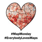 A heart cut-out of a map, with text #MapMonday and #EverybodyLovesMaps below.