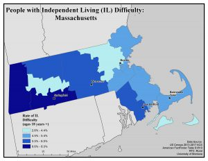 Map of MA showing IL difficulty rates. See MA State Profile page for text description.