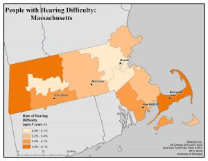 Map of Massachusetts showing rates of hearing difficulty. See MA State Profile page for text description.
