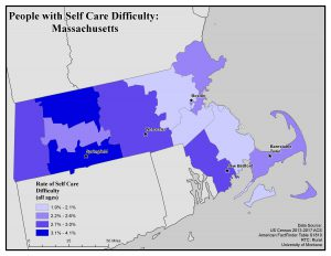Map of MA showing self care difficulty rates. See MA State Profile page for text description.