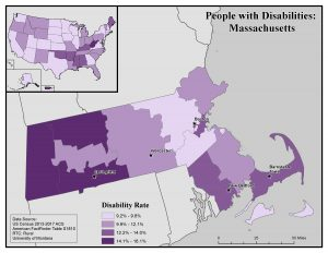 Map of Massachusetts showing rates of disability by county. See MA State Profile page for text description.