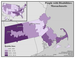 Map of Massachusetts showing disability rates by county. Full text description on page.