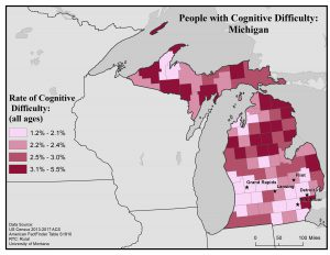 Map of Michigan showing rates of people with cognitive difficulty by county. For full text description see Michigan State Profile page.
