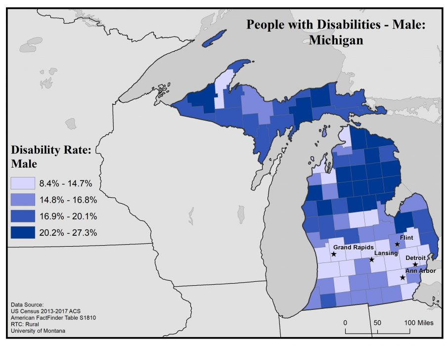 Map of Michigan showing rates of males with disabilities by county. Full text description in post.