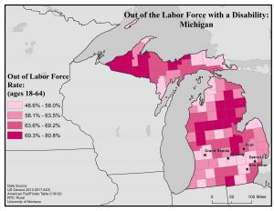 Map of Michigan showing rates of people with disabilities who are out of the labor force. Full text description on the Michigan State Profile page.