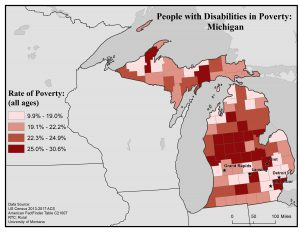 Map of Michigan showing rates of people with disabilities in poverty by county. Full text description in post.