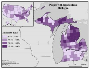 Map of Michigan showing disability rates by county. Full text description in post.