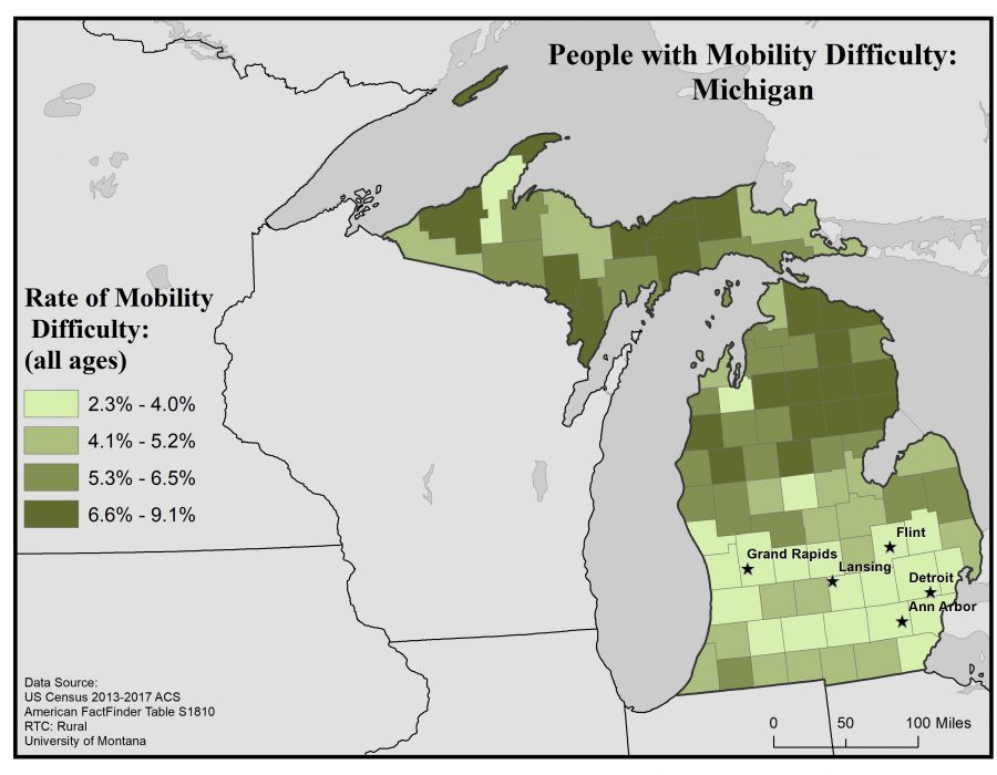 Map of Michigan showing rates of people with mobility difficulty. Full text description in post.