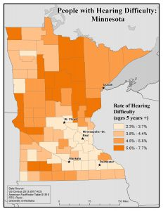 Map of MN showing rates of people with hearing difficulty by county. See MN State Profile page for text description.