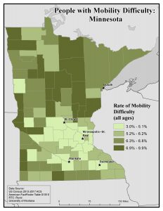 Map of MN showing rates of mobility difficulty by county. See MN State Profile page for text description.