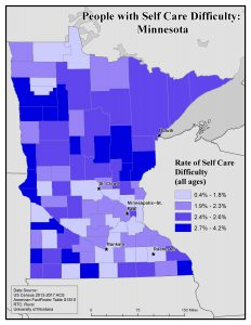 Map of MN showing rates of people with self care difficulty by county. See MN State Profile page for text description.