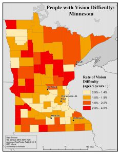 Map of MN showing rates of people with vision difficulty by county. See MN State Profile page for text description.