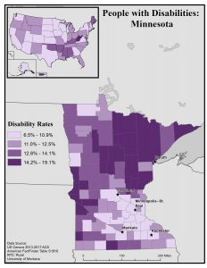 Map of Minnesota showing disability rates by county. See MN State Profile for full text description.