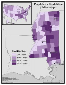 Map of Mississippi showing rates of disability by county. See page for full text description.
