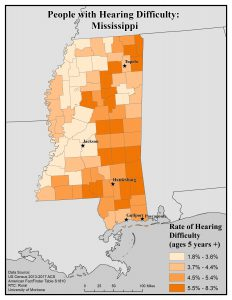 Map of Mississippi showing rates of people with hearing difficulty by county. See Mississippi State Profile page for full text description.