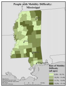 Map of Mississippi showing rates of people with mobility difficulty by county. See Mississippi State Profile page for full text description.