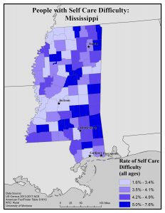 Map of Mississippi showing rates of people with self care difficulty by county. See Mississippi State Profile page for full text description.