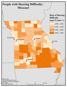 Map of Missouri showing rates of people with hearing difficulty by county. See Missouri State Profile page for full text description.