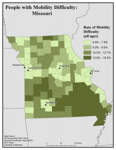 Map of Missouri showing rates of people with mobility difficulty by county. See Missouri State Profile page for full text description.