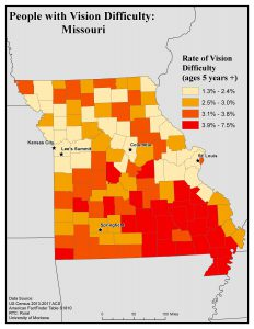 Map of Missouri showing rates of people with vision difficulty by county. See Missouri State Profile page for full text description.