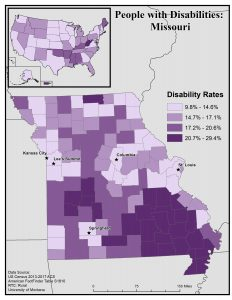 Map of Missouri showing disability rates by county. See MO State Profile page for full text description.