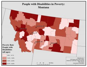 Map of Montana showing rates of people with disabilities in poverty. See Montana State Profile page for full text description.