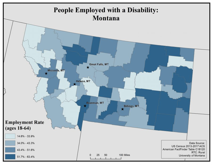 Map of Montana showing rates of people with disabilities who are employed. See page for full text description.