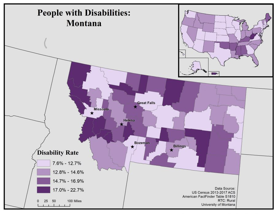 Map of Montana showing general disability rates by county. See page for full text description.