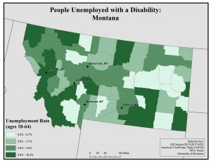 Map of Montana showing rates of people with a disability who are unemployed by county. See Montana State Profile page for full text description.