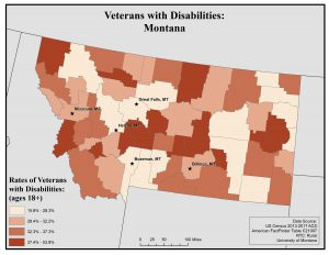 Map of Montana showing rates of veterans with disabilities by county. See Montana State Profile page for full text description.