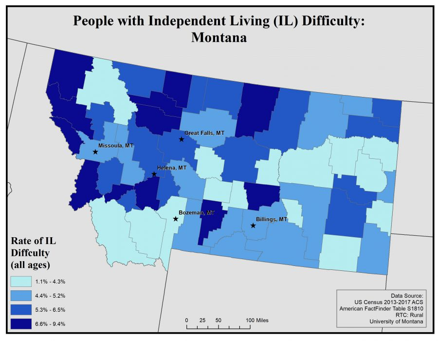 Map of Montana showing rates of people with IL difficulty by county. See Montana State Profile page for full text description.
