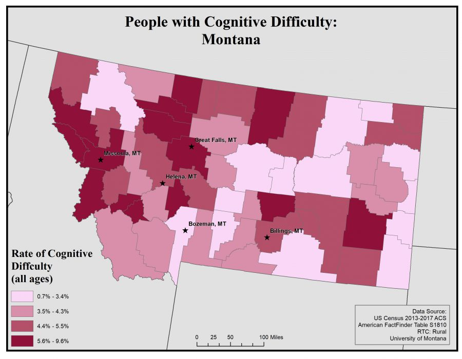Map of Montana showing rates of people with cognitive difficulty by county. See Montana State Profile page for full text description.