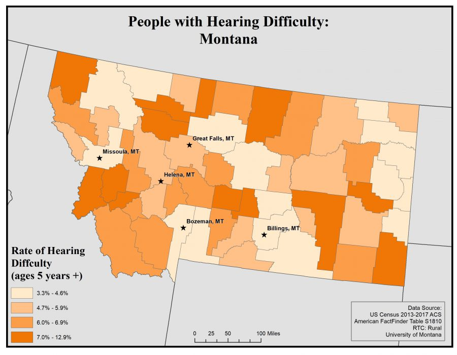 Map of Montana showing rates of people with hearing difficulty by county. See Montana State Profile page for full text description.