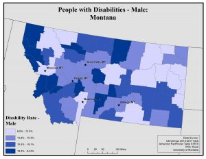 Map of Montana showing rates of disability among males by county. See Montana State Profile page for full text description.