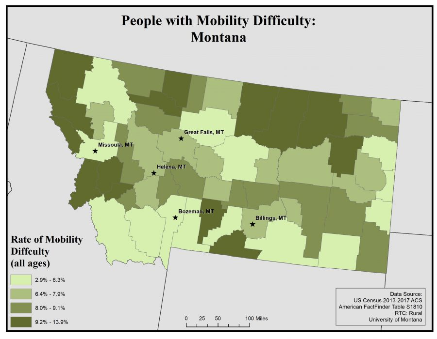 Map of Montana showing rates of people with mobility difficulty by county. See Montana State Profile page for full text description.