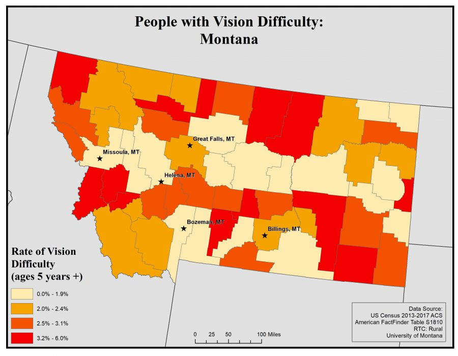 Map of Montana showing rates of people with vision difficulty by county. See Montana State Profile page for full text description.