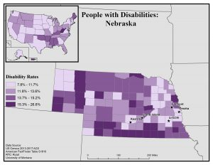 Map of Nebraska showing disability rates by county. See Nebraska State Profile page for full text description.