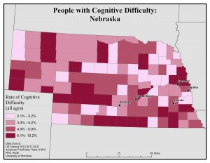 Map of Nebraska showing rates of people with cognitive difficulty by county. See Nebraska State Profile page for full text description.