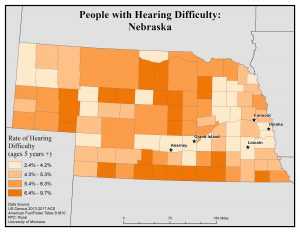 Map of Nebraska showing rates of people with hearing difficulty by county. See Nebraska State Profile page for full text description.