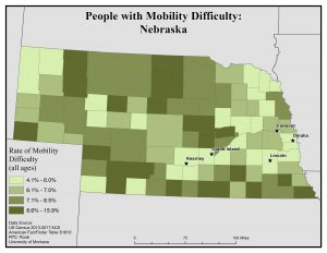 Map of Nebraska showing rates of people with mobility difficulty by county. See Nebraska State Profile page for full text description.